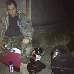 Ox ran the grill all day and night. Here he is making coffee on a perculator for our night ops.