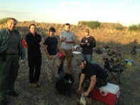 Here's the team around the BBQ as the sun went down.