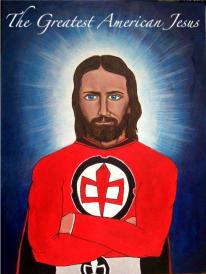 Making fun how we've turned Jesus into an America Superhero