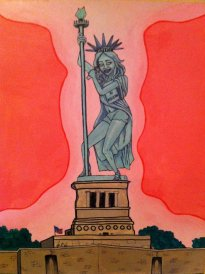 Miley Cyrus stripper pole Statue of Liberty. The corruption of our youth.