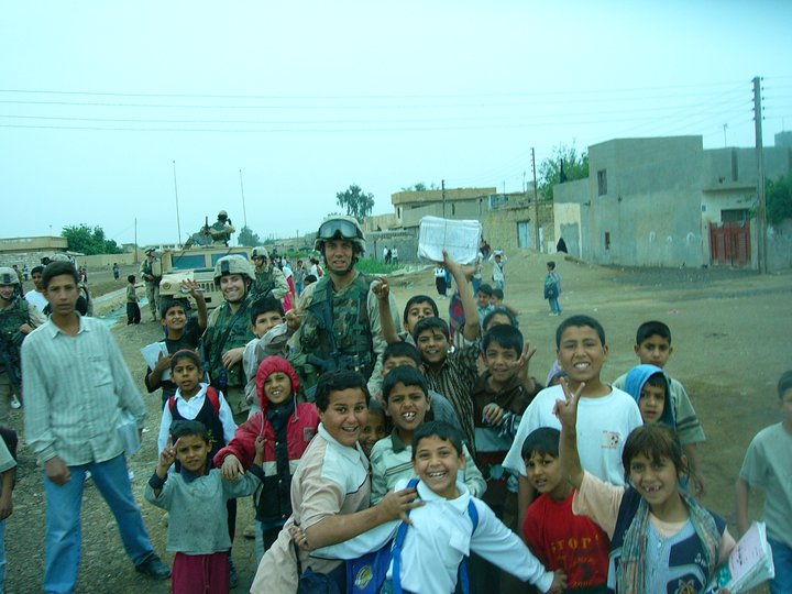 Me and kids in Taji, Iraq