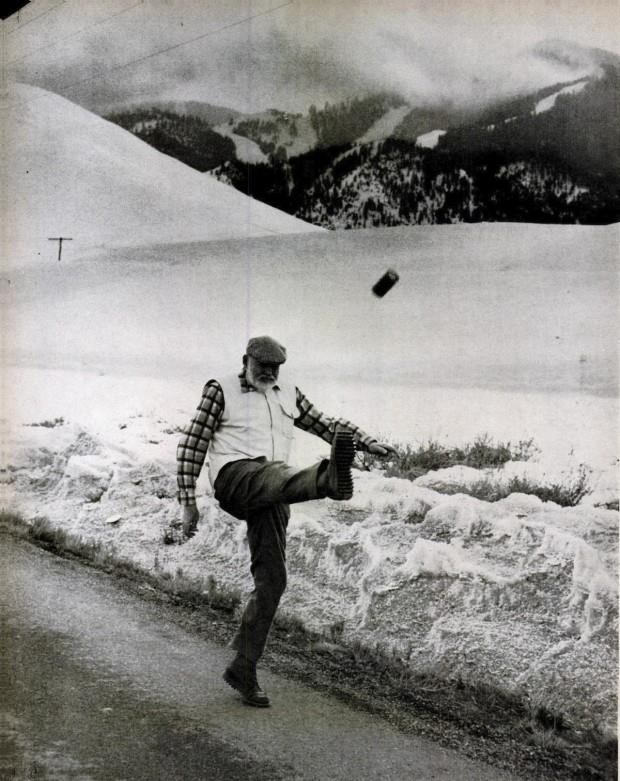 This is Papa Bear kicking a beer can into the Idaho snow.