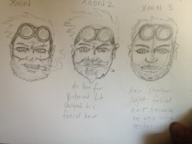 Different Faces of Xoon. The original has a scruffy beard. X2 has manscaped facial hair due to his love of Victorian Lit, and X3 was born a few days ago and has a five o'clock shadow.