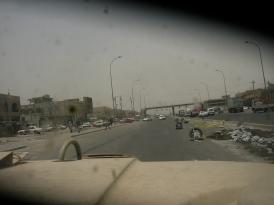Driving through Baghdad.