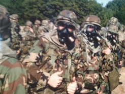 Gas mask training before being deployed.