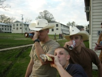 Hydrating in Louisiana before the war with McCreery (Melvin) and Jason Winslow who would eventually call in the 9 line medical evac on me in Taji.