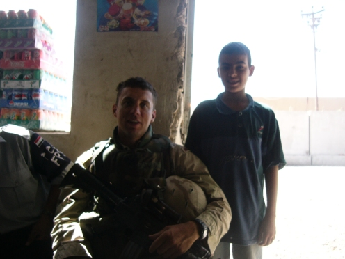 SSG Davis and Mustafa at the Iraqi Police station south of Taji