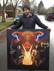 Keith holding the Einharger painting we did.