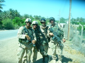 training the Iraqi at a Traffic Check Point with Cliff Matier and Shad Thomas.