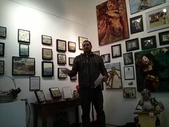 Reading at Six Days Gallery where I hang my art