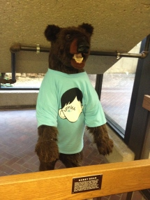 Gabby the bear at the library