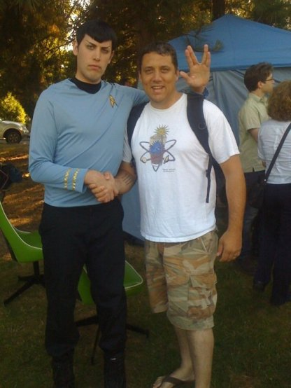 Sean with Spock at Trek in the Park, 2013