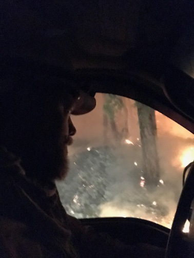 Sean driving on the Gardner Complex Fire 2018